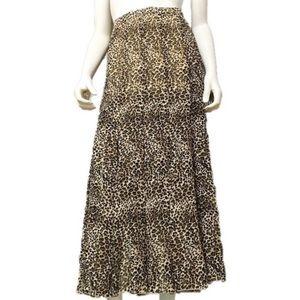 Dana Buchman Leopard Print Silk Maxi Skirt Size-M